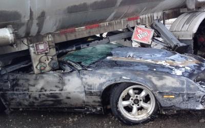 Safety training evident as car crashes into Heyob fuel semi